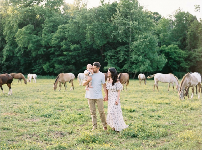 family session on a horse ranch at sunset