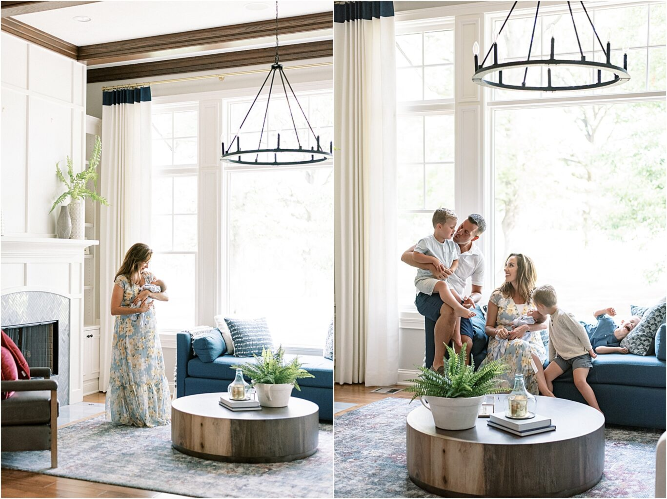 In-home lifestyle newborn session in Carmel Indiana. Photos by Lindsay Konopa Photography.