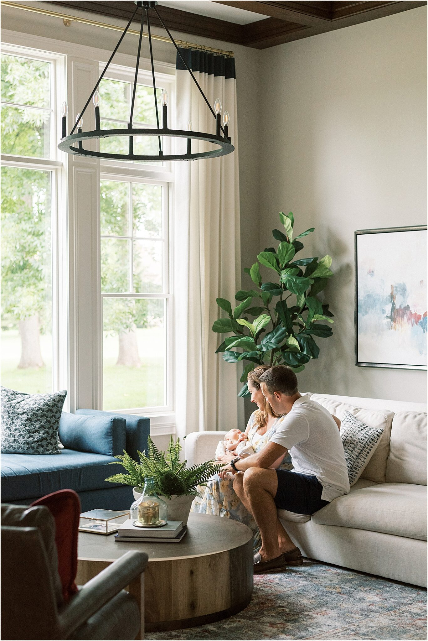 Lifestyle newborn session in beautiful Carmel, Indiana home. Photo by Lindsay Konopa Photography.