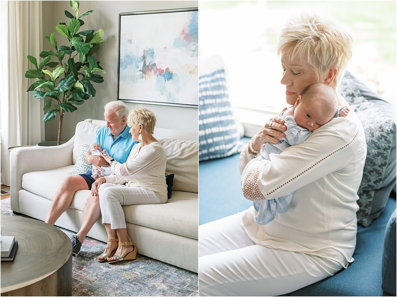 Grandparents hold their newest grandson for newborn photo in Carmel, Indiana home. Photo by Lindsay Konopa Photography.