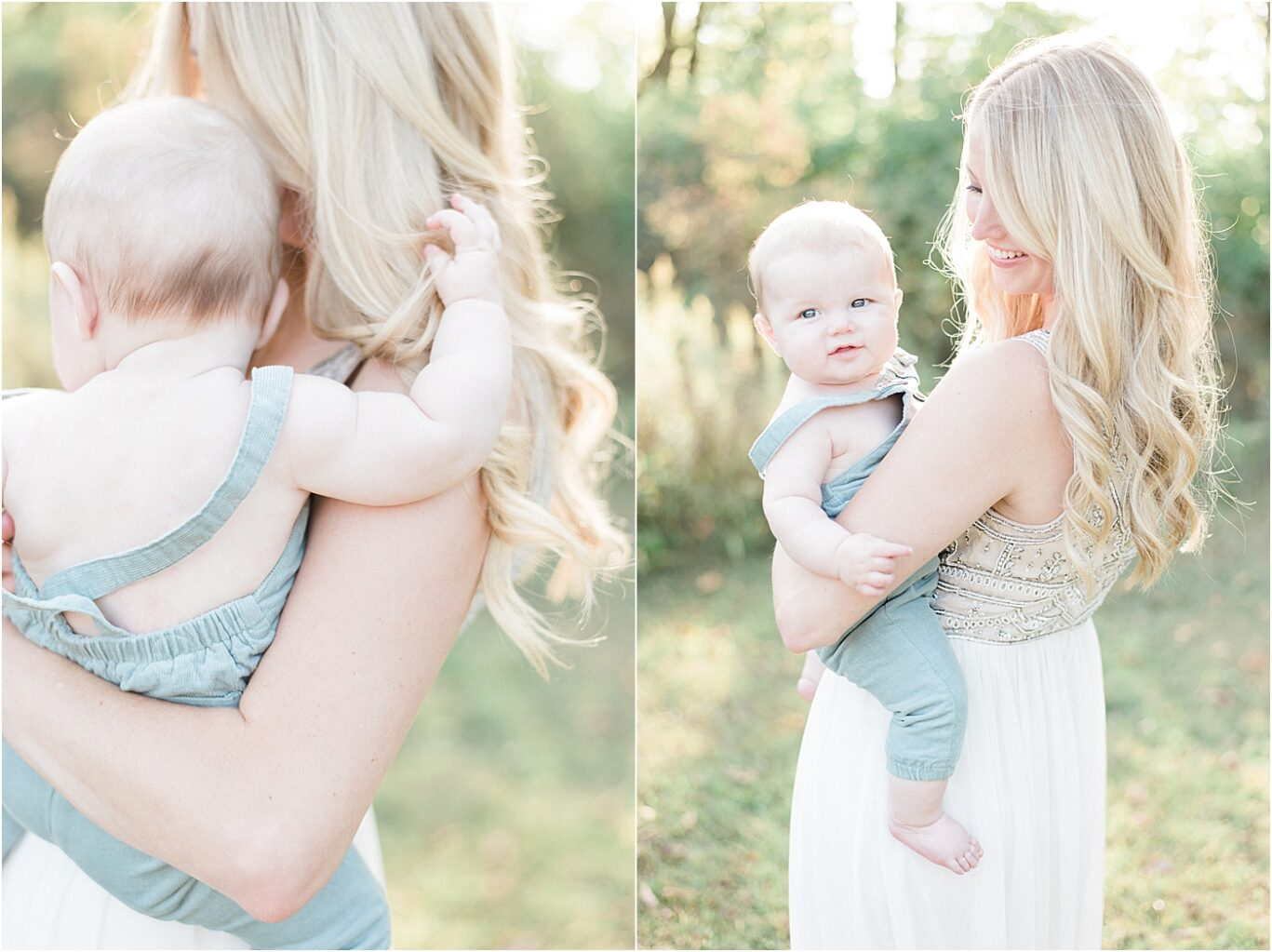 Mom holding her baby boy at sunset during photoshoot with Lindsay Konopa Photography.