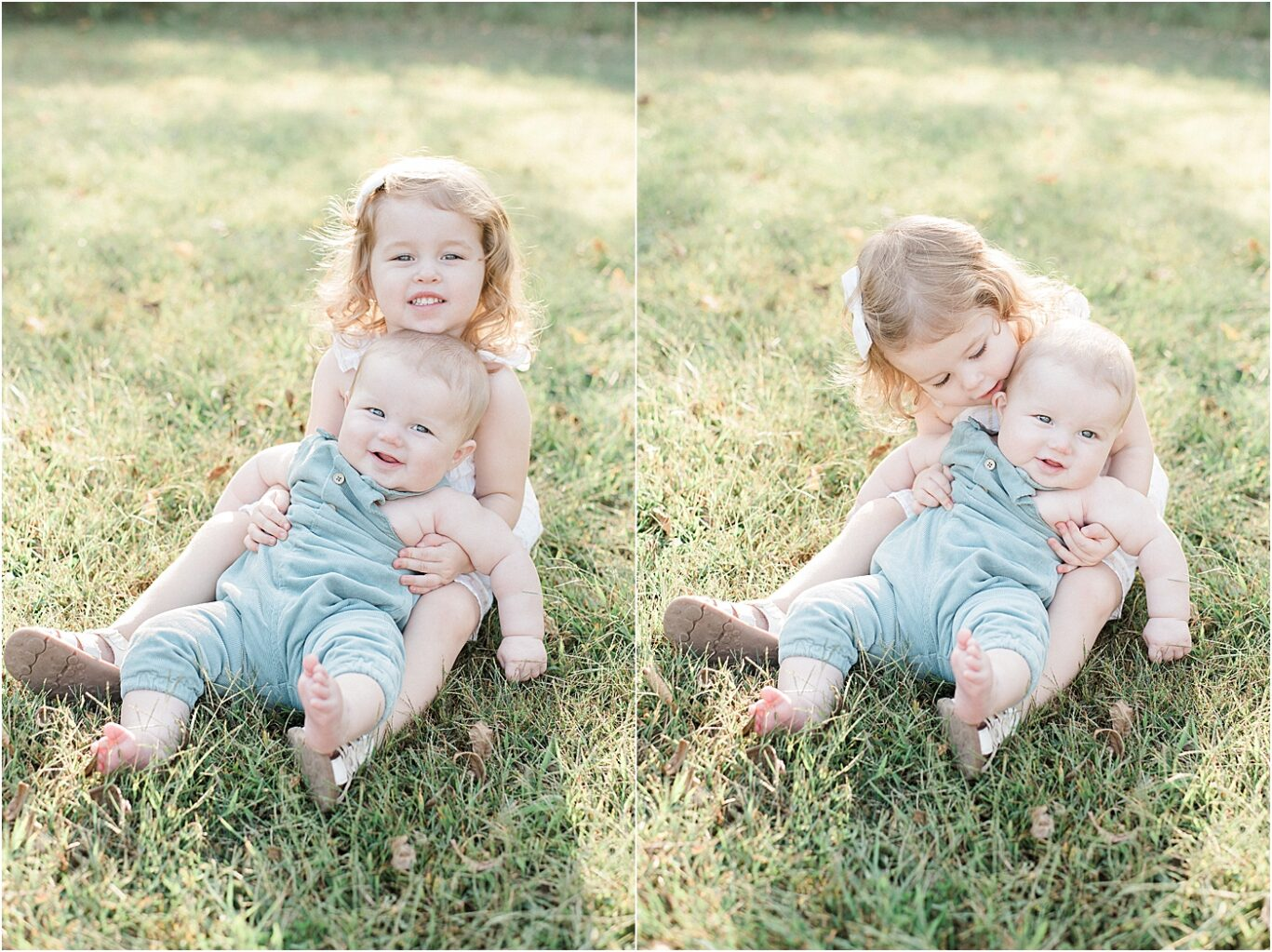 Big sister loving on her baby brother. Photos by Lindsay Konopa Photography.