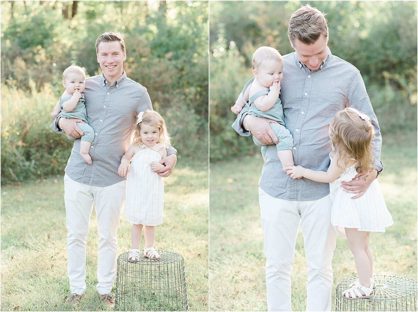 Dad with his son and daughter. Photos by Lindsay Konopa Photography.