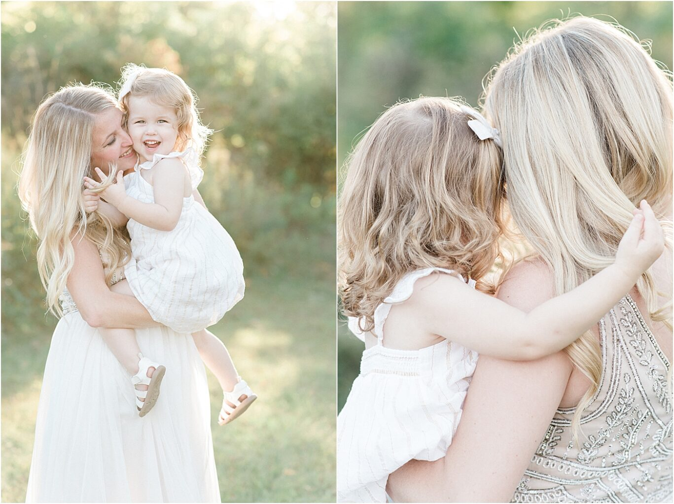 Sweet moments of Mom and daughter at sunset during family portraits with Lindsay Konopa Photography.