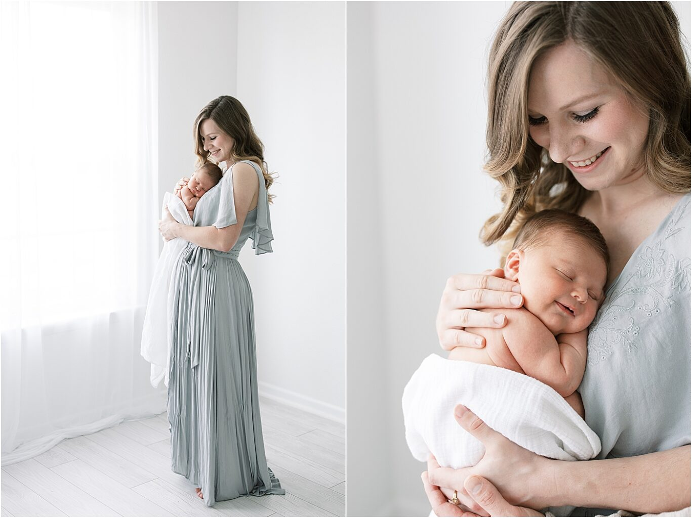 Mom holding her son for newborn portraits. Photo by Lindsay Konopa Photography.