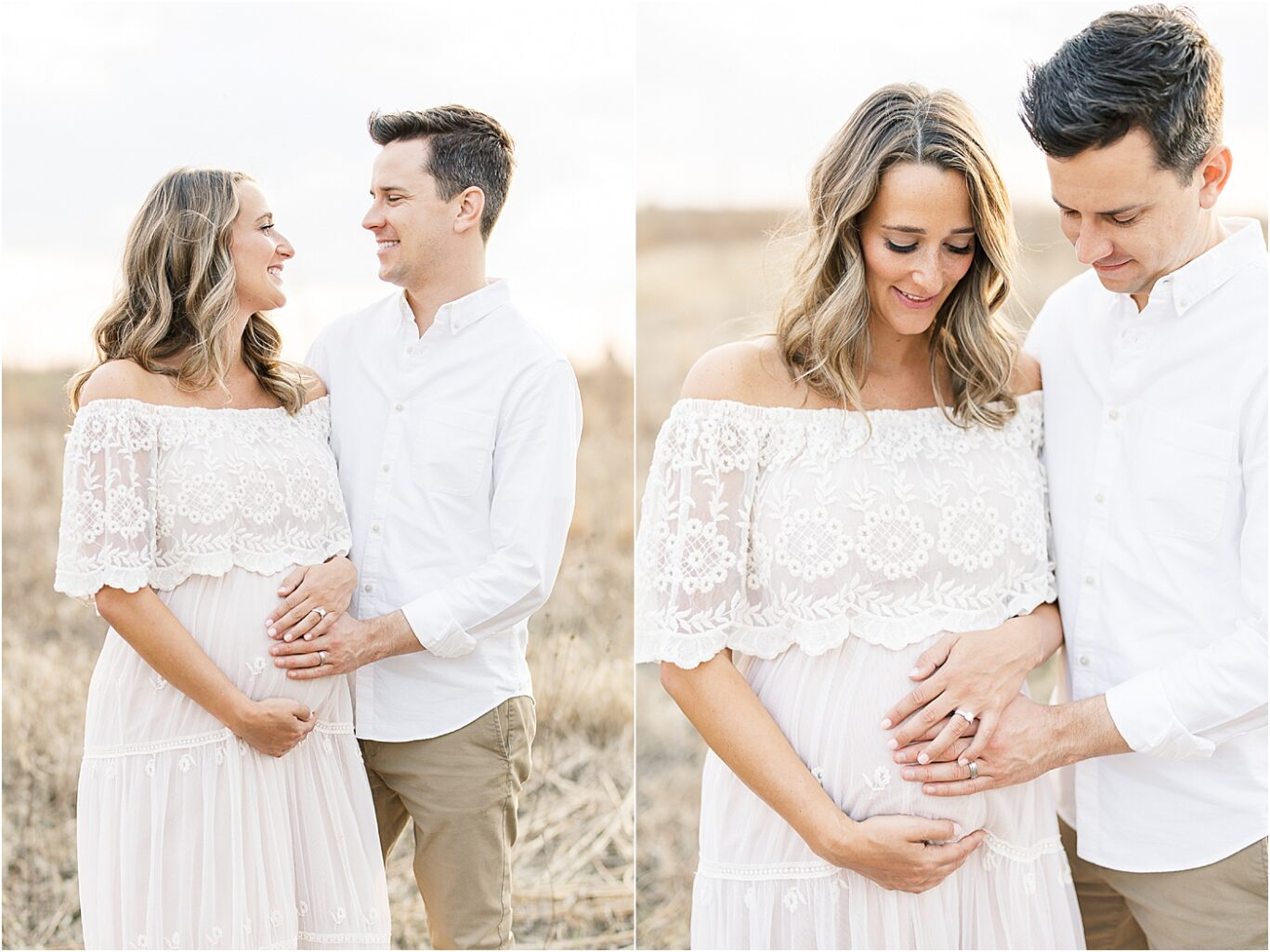 Mom and Dad to be standing together for maternity photos. Photos by Broad Ripple IN Maternity Photographer, Lindsay Konopa Photography.