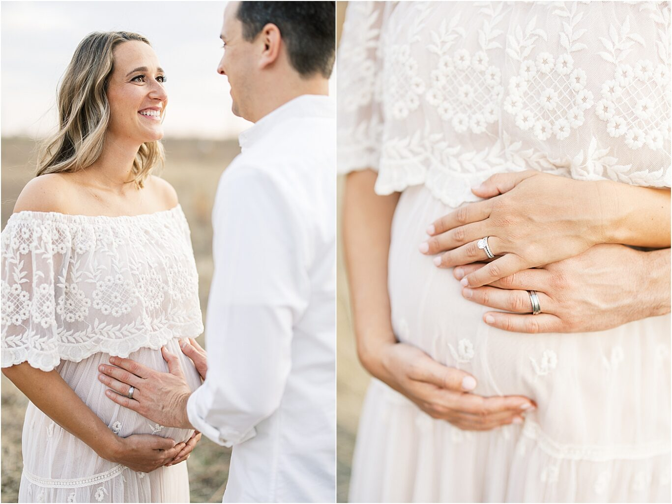 Mom and Dad looking at each other during outdoor maternity session in Broad Ripple. Photos by Lindsay Konopa Photography.