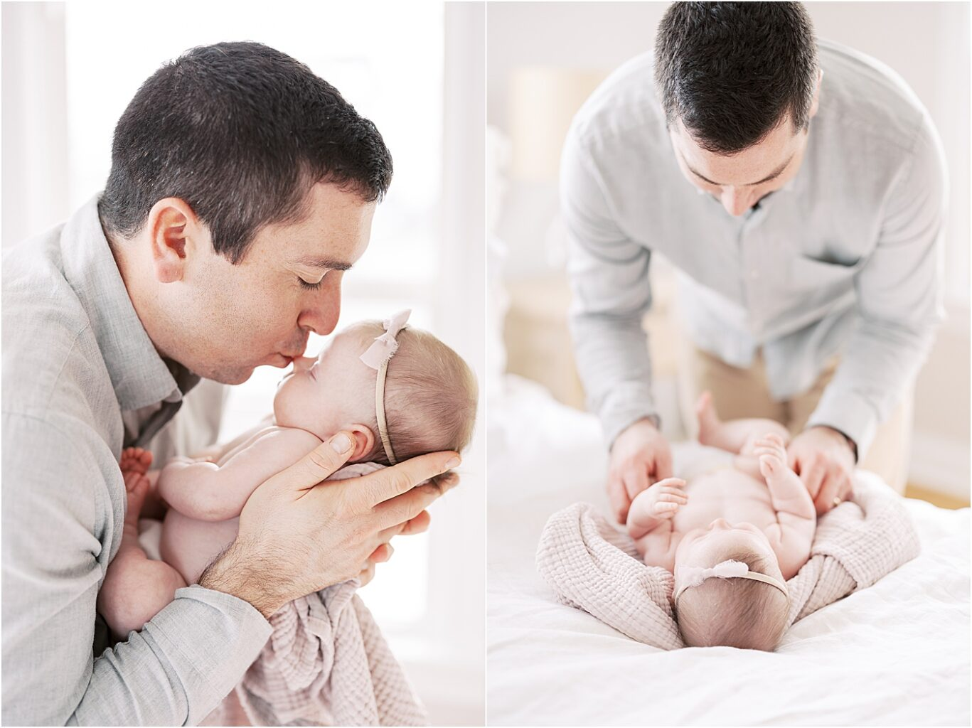 Daddy kissing his baby girl. Photo by Lindsay Konopa Photography.