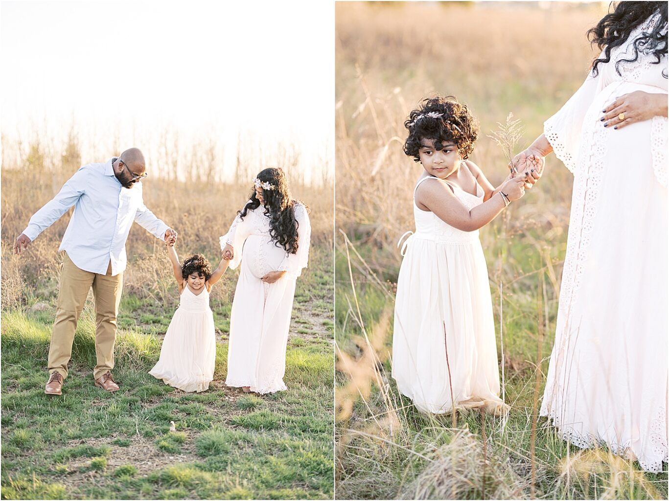 Outdoor maternity session with Mom, Dad and toddler daughter. Photo by Lindsay Konopa Photography.