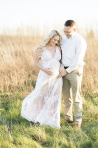 Sunset maternity session at Flat Fork Creek Park in Fishers, IN. Photo by Lindsay Konopa Photography.